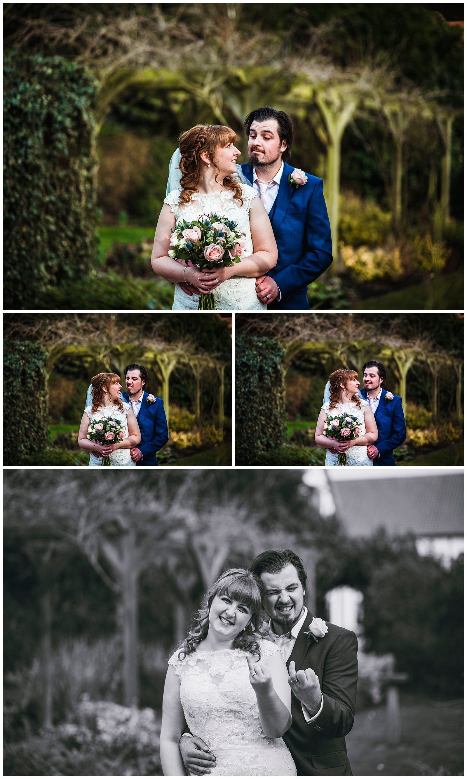 couple portraits in the garden, at Sandburn Hall