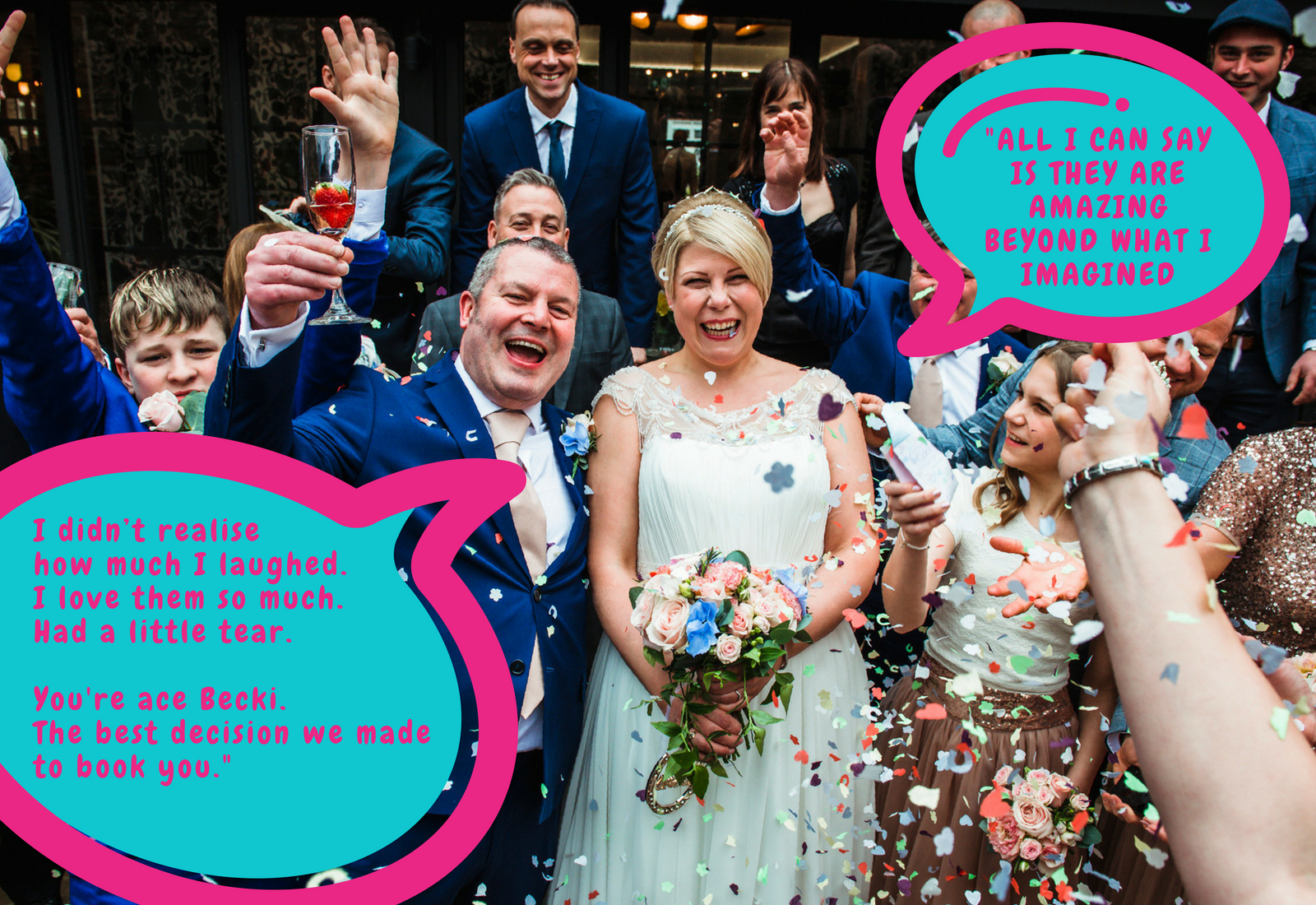 York wedding photographer taking fun photos at your wedding. With confetti and glitter at the ready.