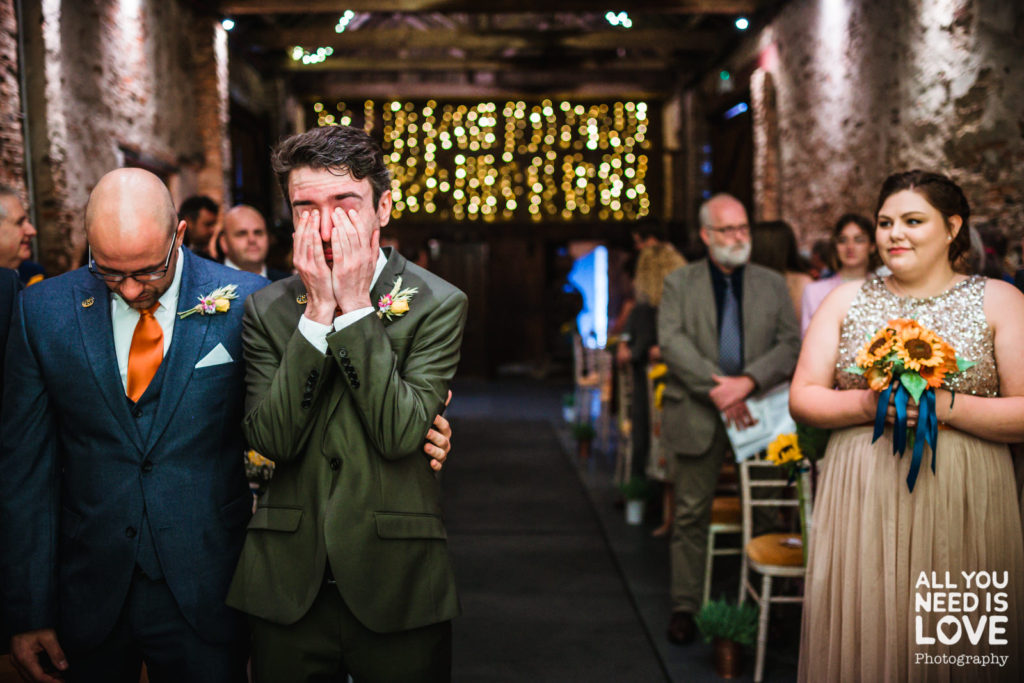 Martin the groom, getting emotional waiting for his bride to walk down the aisle