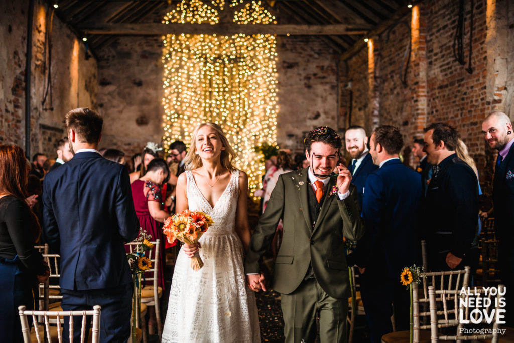 Fairy lights wall for the ceremony of Martin and Katie